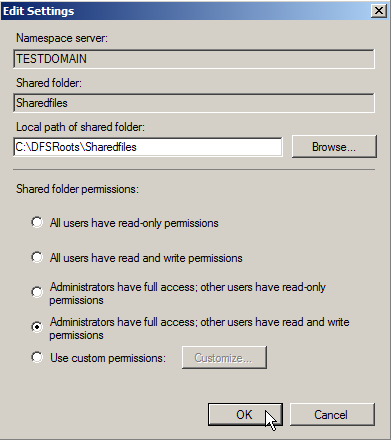 Windows 2003 NTFS and Share Permissions