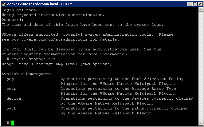 Perform command line configuration of multipathing options