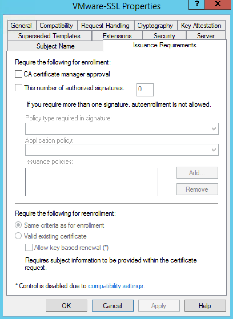 Web server certificate template autoenrollment not allowed for The request contains no certificate template information