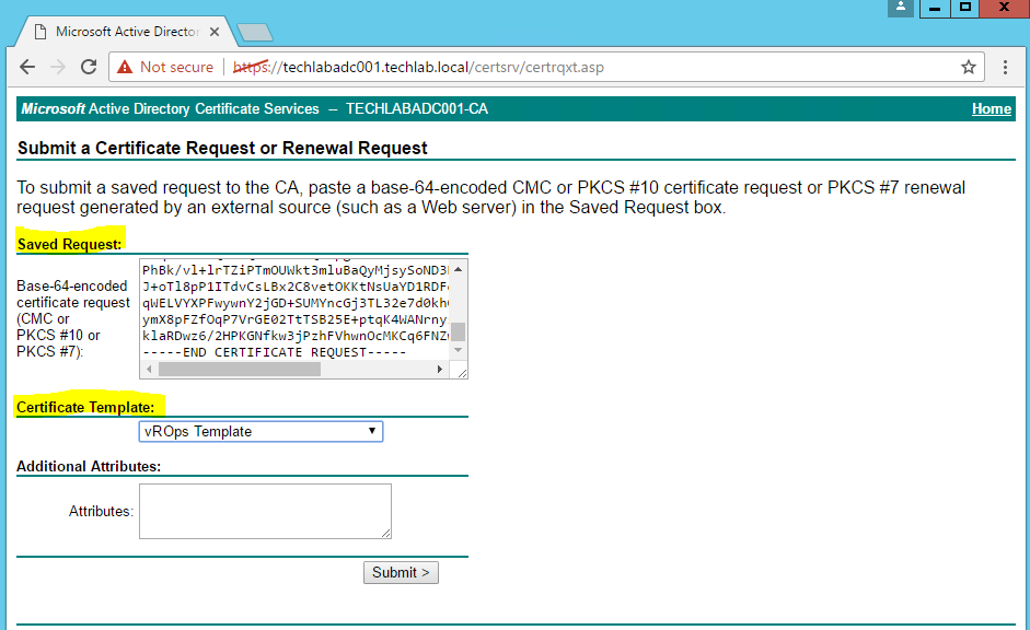 Replacing vrops 64 self signed certificates select a certificate template that meets the requirement in this case vrops template yelopaper Images